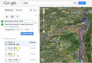 Pra�sk� MHD v map�ch od Googlu