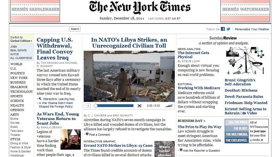 Webové stránky The New York Times, ilustrační foto