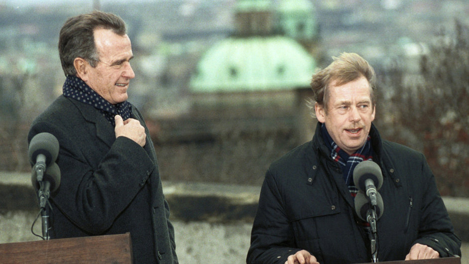1990: Václav Havel s Georgem Bushem