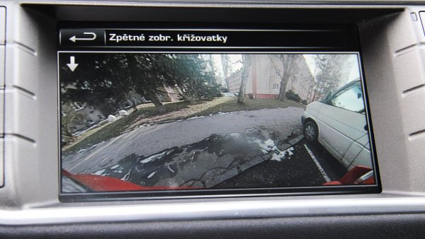 Parkovací kamera u modelu Range Rover Evoque.