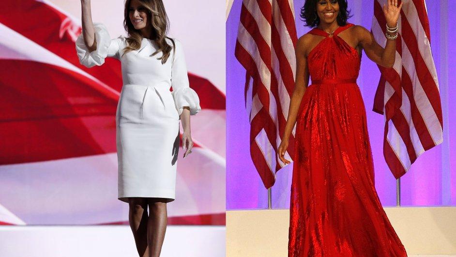 První dámy USA: Melania Trumpová (vlevo) a Michelle Obamová