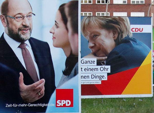 Německo, volby, SPD, CDU, CSU, Merkelová, Schulz, plakát