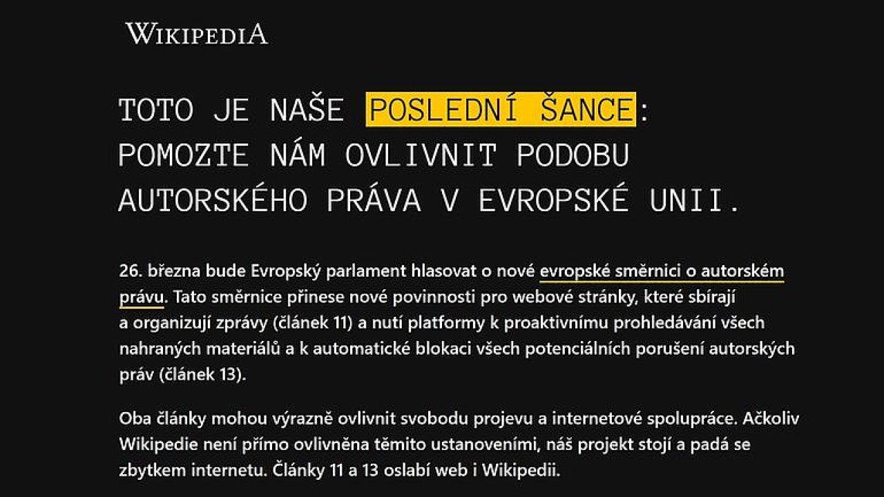 Česká Wikipedie se na protest odmlčela. Svobodný internet je v ohrožení, říká Dostál