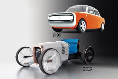 Ford 021c (nahoře) navrhl světoznámý designér Marc Newson. Auto navazující na estetiku 60. let se poprvé ukázalo na autosalonu v Tokiu v říjnu 1999.