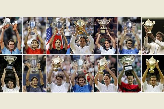 Roger Federer se všemi svými grandslamovými tituly.