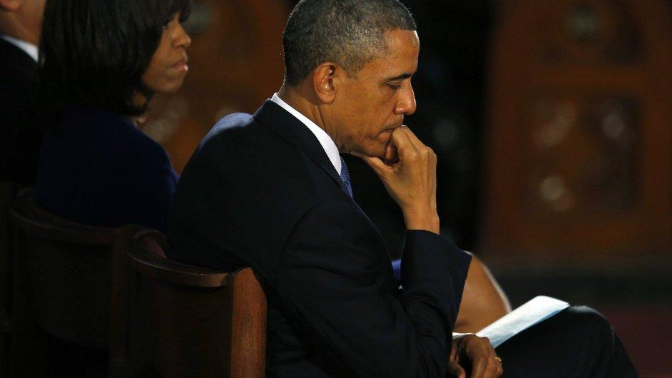 Barack Obama na mši za oběti výbuchů v Bostonu