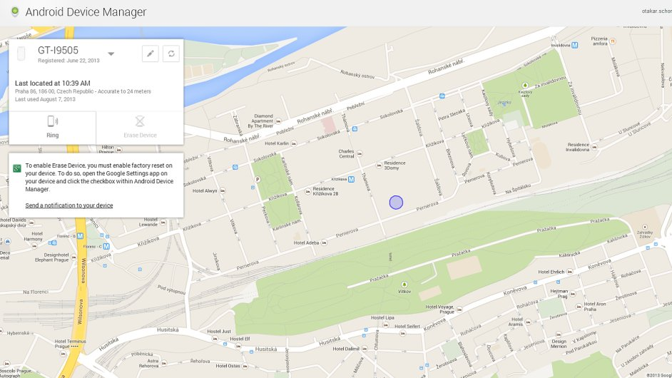 Webové prostředí služby Android Device Manager
