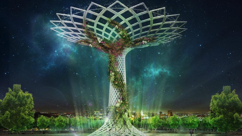 Symbol stromu uprostřed italské expozice na Expo 2015