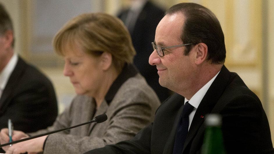 Angela Merkelová a François Hollande
