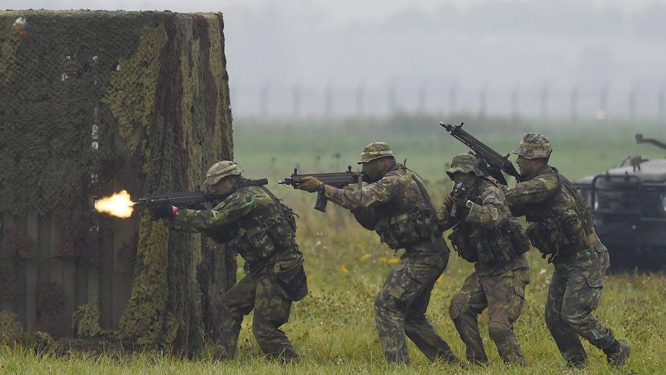 První den Dnů NATO a Dnů Vzdušných sil Armády ČR 17. září v Mošnově. Na snímku je ukázka přepadení objektu a osvobození rukojmích.