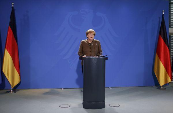 Německá kancléřka Angela Merkelová na tiskové konferenci.