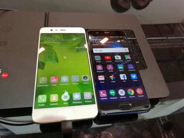 Huawei P10 (vpravo) vedle Huawei P10 v zelené barvě s bílým předním panelem