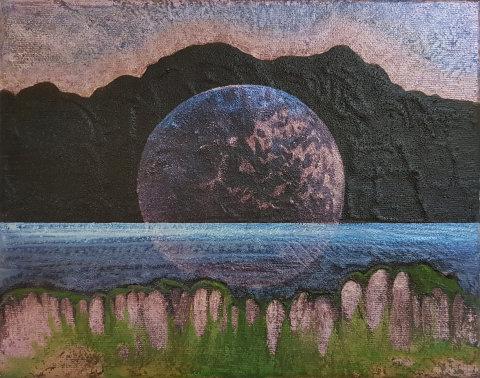 Veronika Holcová: Bowl, akryl a olej na plátně, 20 x 25 cm, 2016.