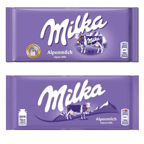 Mléčná Milka před redesignem a po něm