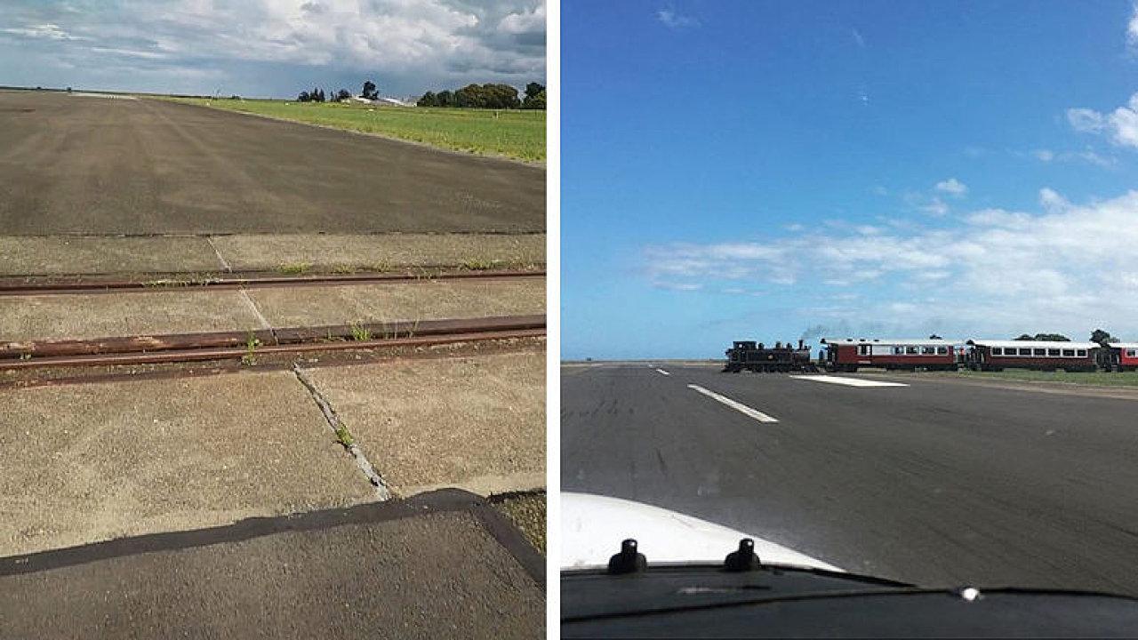 Železniční trať uprostřed dráhy. Letištěm projíždí několikrát denně motorák.