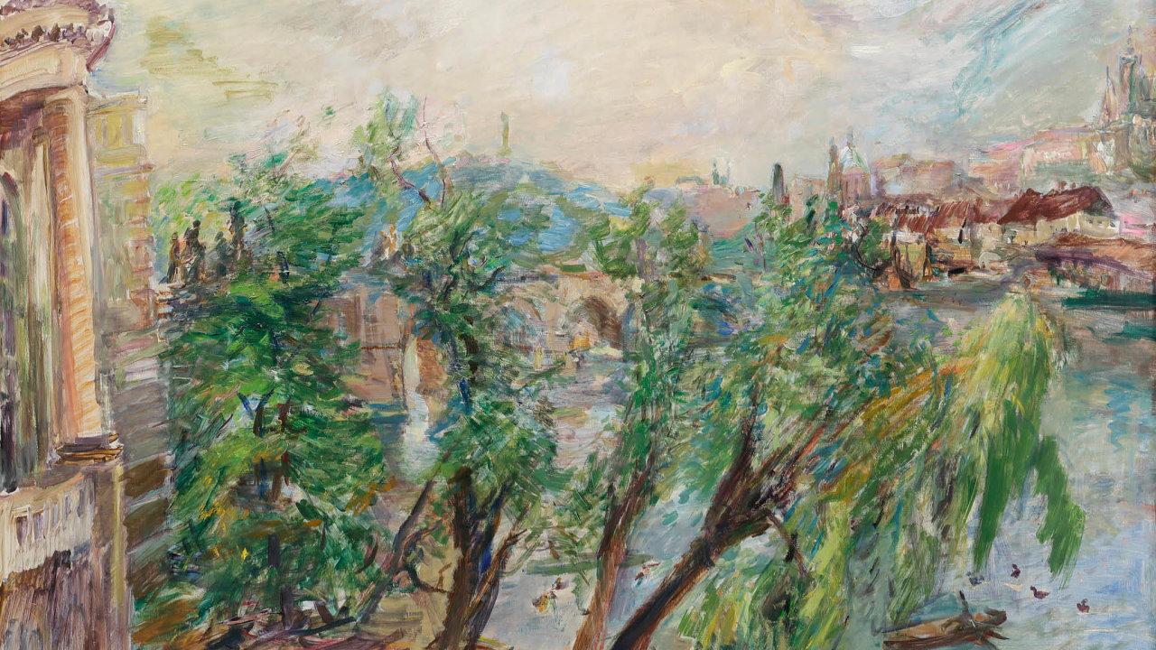 Obraz Oskara Kokoschky snázvem Praha – Pohled zkřížovnického kláštera bude nabídnut zavyvolávací cenu 68 milionů korun.