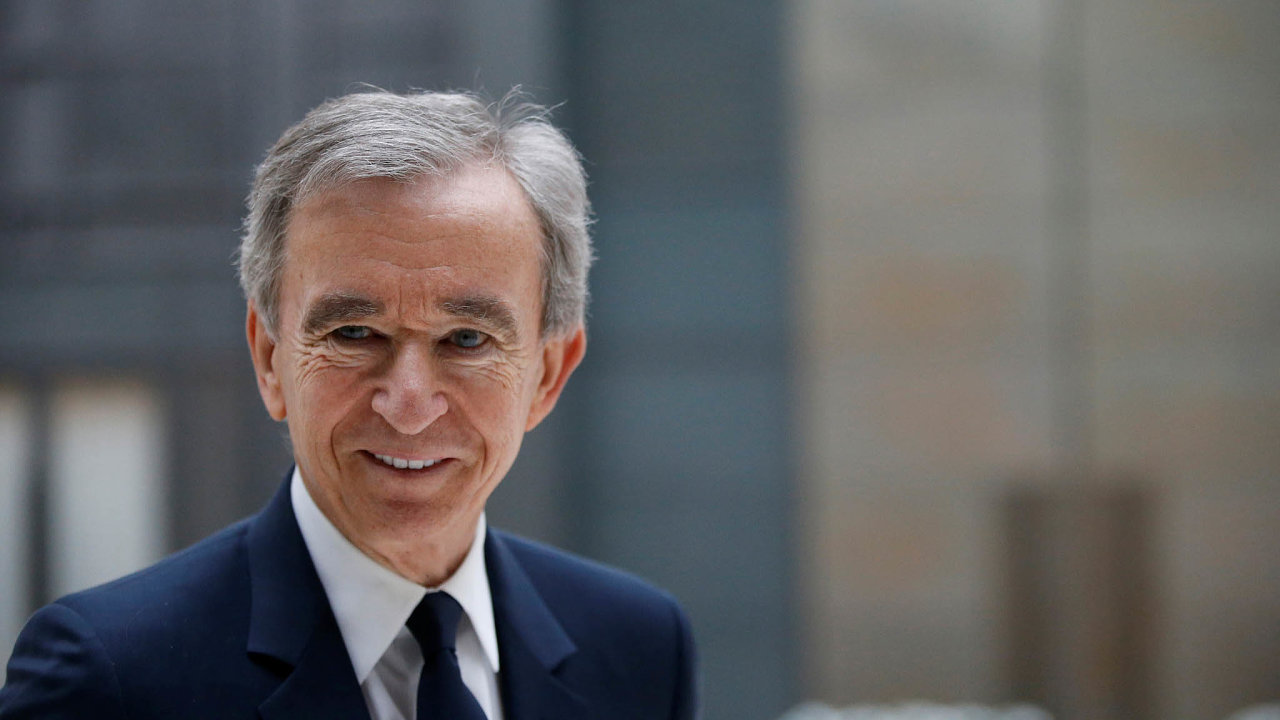 Chairman and CEO of Luxury goods group LVMH Bernard Arnault poses after a news conference