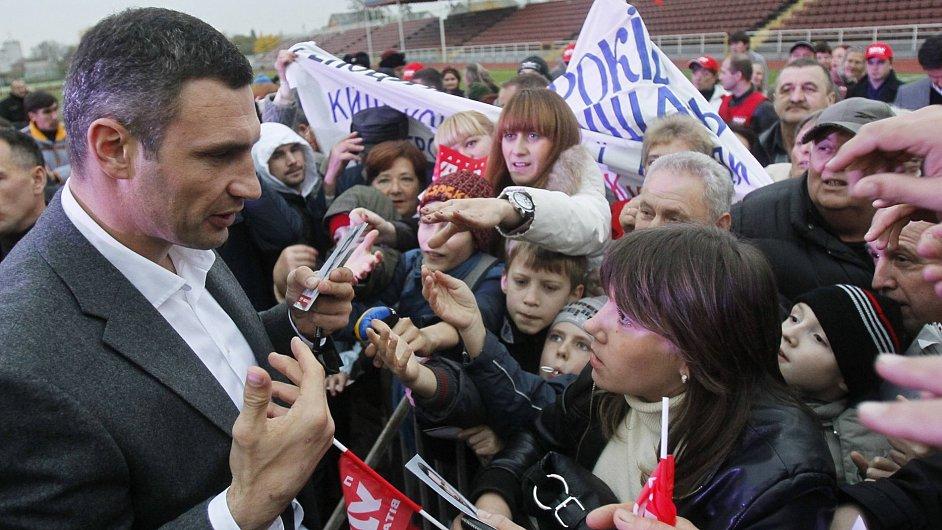 Vitalij Kličko na předvolebním setkání s voliči