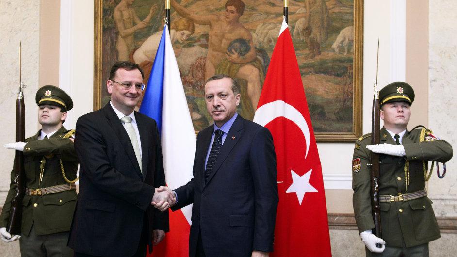 Turecký premiér Erdogan v Česku.