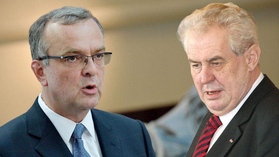 Exministr financí Miroslav Kalousek a prezident republiky Miloš Zeman.