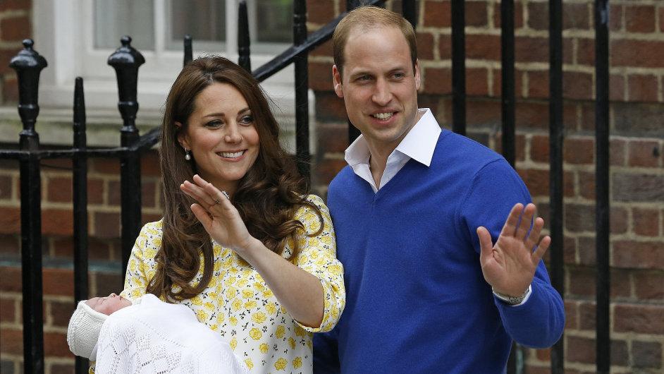 Vévodkyně Kate a princ William se svou novorozenou dcerou.