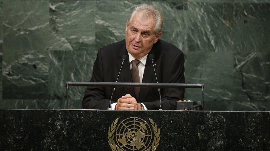 Prezident Miloš Zeman promluvil na Valném shromáždění OSN v New Yorku.