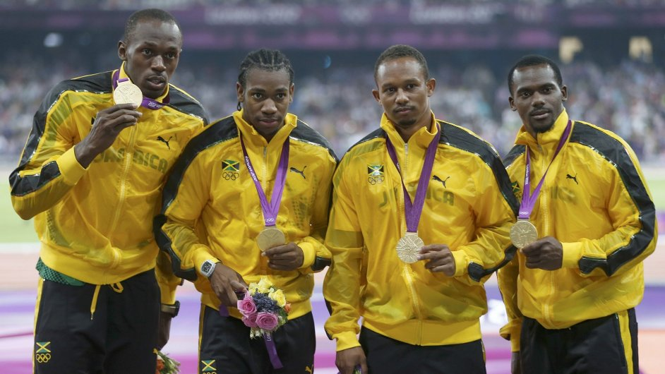 Zlatá jamajská štafeta - Usain Bolt, Yohan Blake, Michael Frater a Nesta Carter.