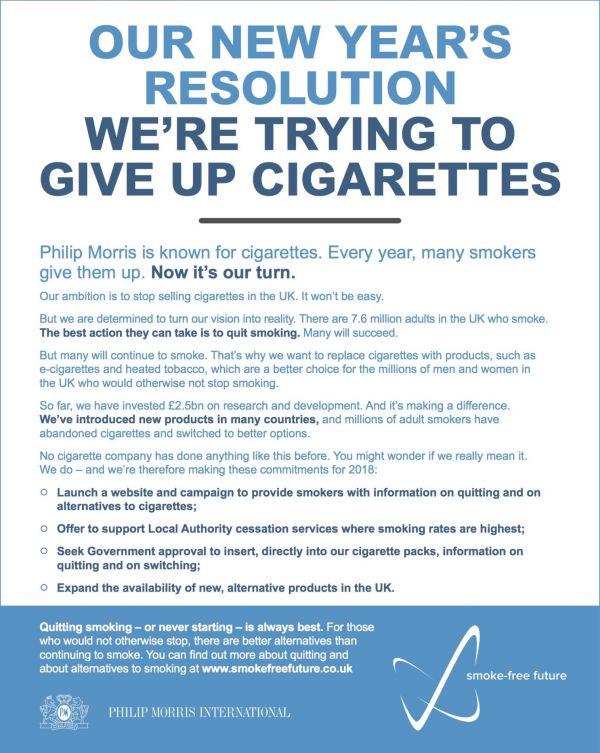 Tabáková firma Philip Morris International zveřejnila v britských denících inzerát, ve kterém nabádá lidi, aby se vzdali cigaret