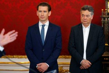 Předseda lidovců (ÖVP) Sebastian Kurz a Werner Kogler, šéf strany Zelených (Die Grünen).