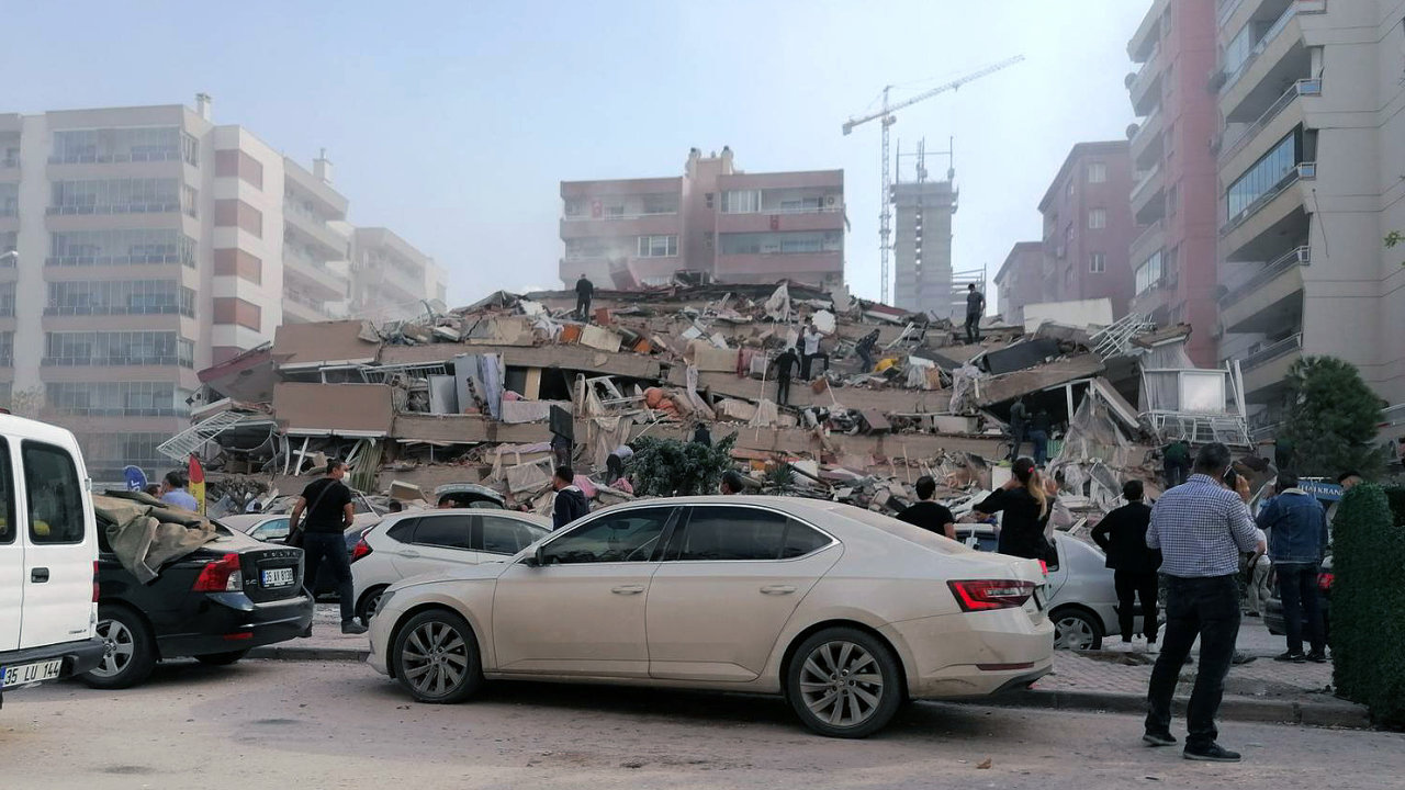 Izmir, Turkey, Friday, Oct. 30, 2020, after a strong earthquake in the Aegean