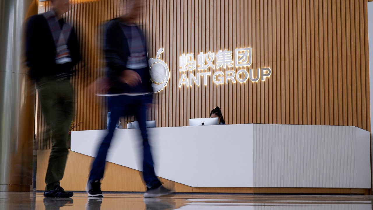 FILE PHOTO: A logo of Ant Group is pictured at the headquarters of the company