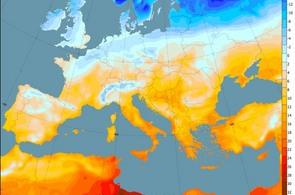 Rozložení teplot v Evropě 22. prosince