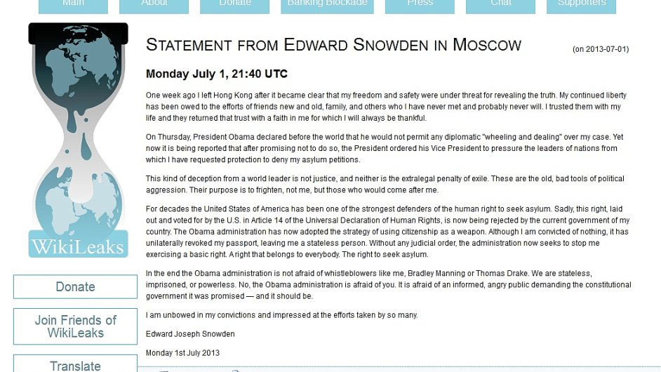 Server WikiLeaks zveřejnil vyjádření Edwarda Snowdena