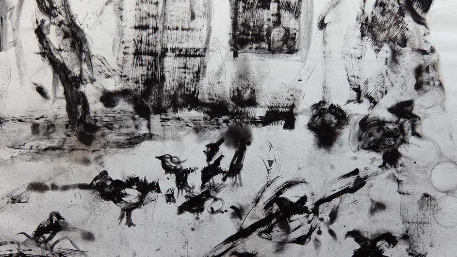 Jedno z pláten Jakuba Špaňhela odkazující k inspiraci Bohuslavem Reynkem.