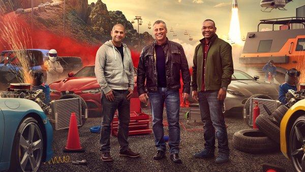 Moderátoři Top Gear 2017. Zleva Chris Harris, Matt LeBlanc a Rory Reid