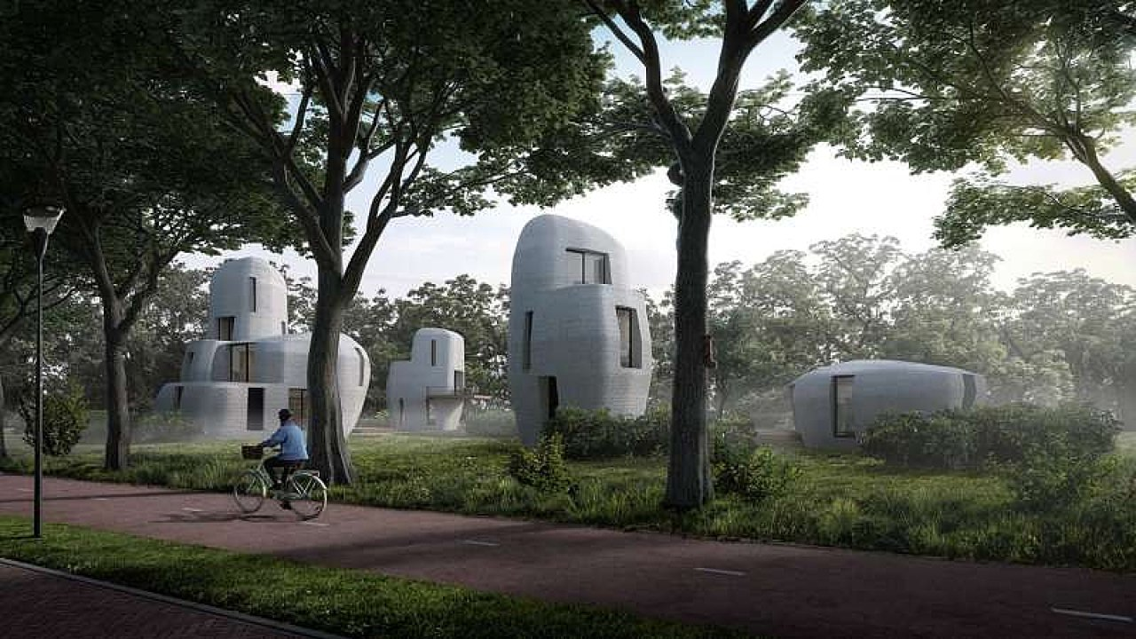 Vizualizace futuristické čtvrti Bosrijk v Eindhovenu.