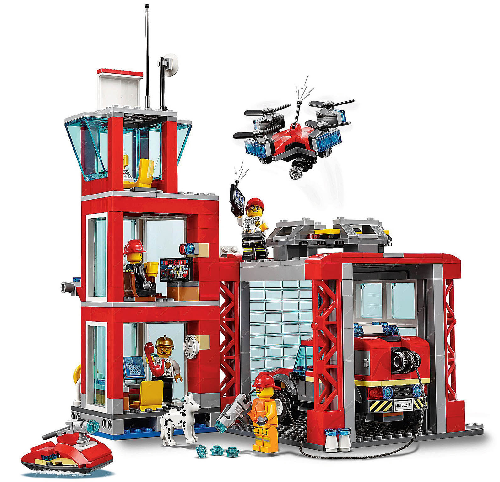 Třípatrová Lego hasičská stanice skanceláří, garáží aprůzkumnou věží.