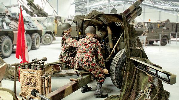 Švýcarská houfnice 105 mm H vzor 43/46 ve Vojenském muzeu v Králíkách