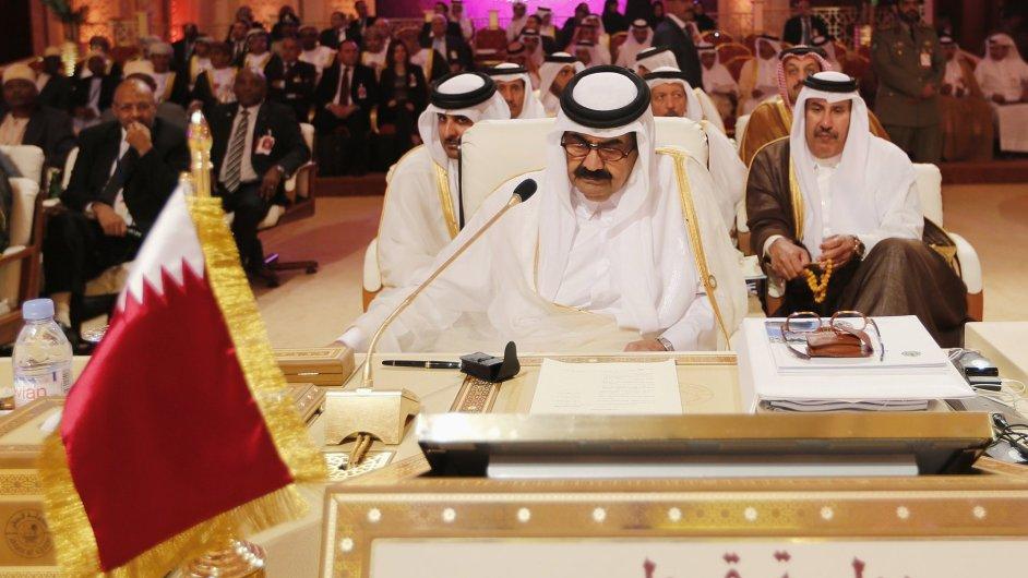 Katarský emír na jednání v Dauhá. LAS podpořila syrskou opozici.