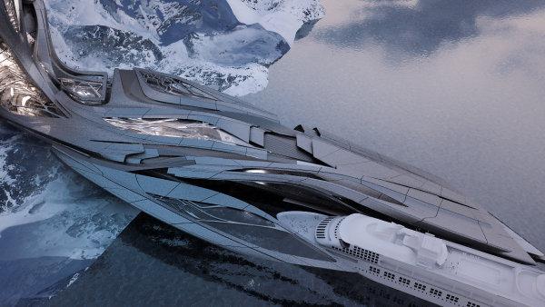 Student Zahy Hadid navrhl arktickou stanici inspirovanou tvarem ledovce