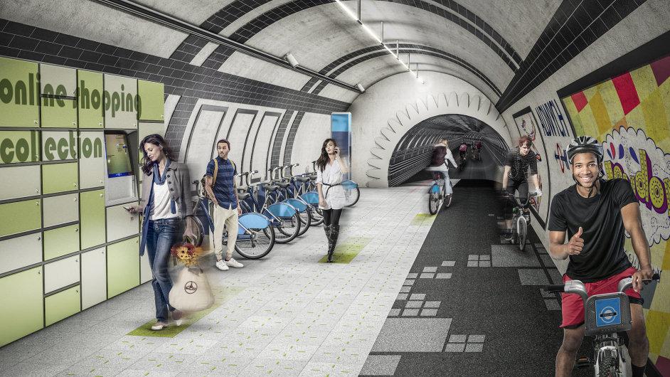 Vizualizace podzemní cyklostezky v jednom z nepoužívaných tunelů londýnského metra