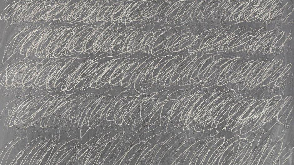 Detail bezejmenného obrazu Cy Twomblyho z roku 1968.