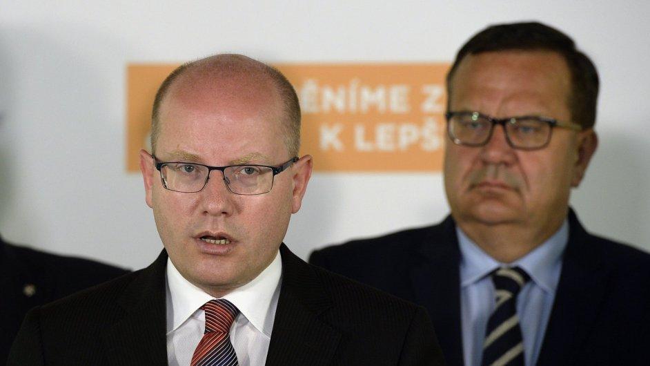 Premiér Bohuslav Sobotka na tiskové konferenci ČSSD.