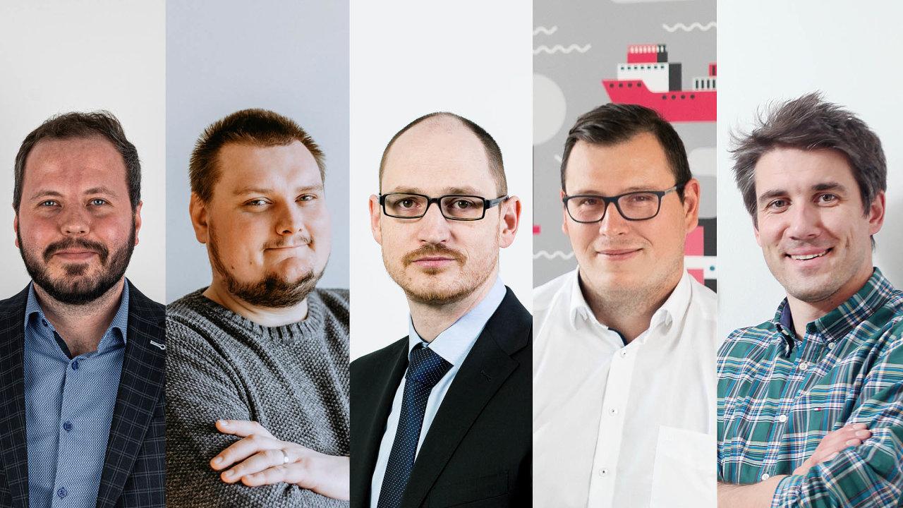 Účastníci debaty: Zleva Aleš Ječmen (Dámejídlo.cz),  Jan Klička (Bonami), Jan  Kodada (Gebrüder Weiss), Konstantin Margaretis (Skladon) a Tomáš Formánek (Logio)