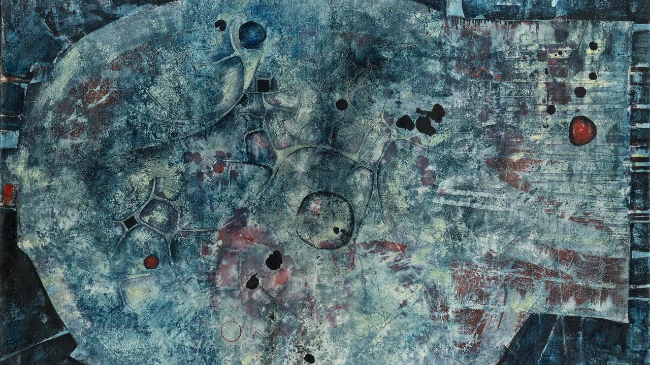 Velká hlava plná malých nezbedností. Medkův obraz z roku 1960. Tehdy zamířil k abstrakci.