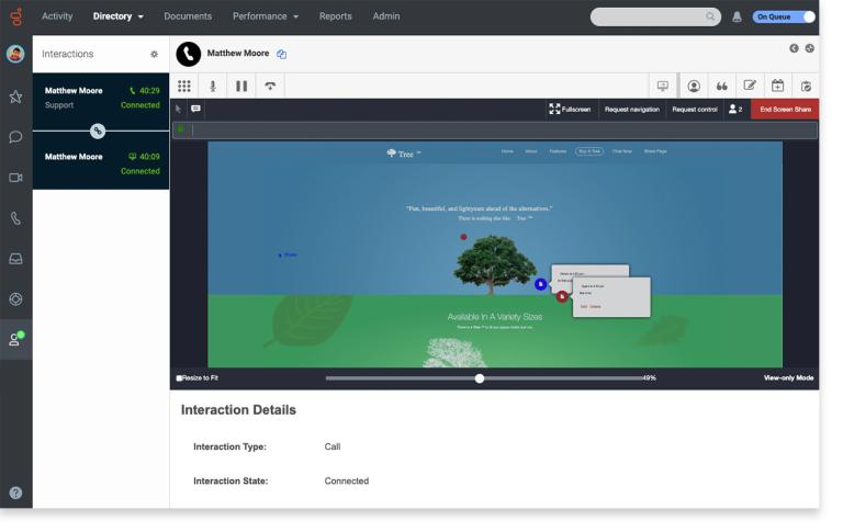 Sdílení obrazovky v pracovníka call centra se zákazníkem: řešení lze zákazníkovi ukázat prostřednictvím web prohlížeče (Genesys Cloud).