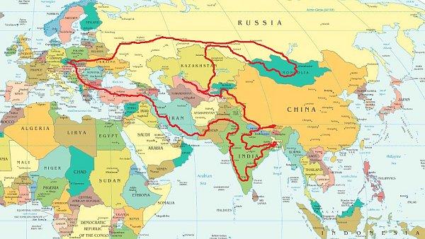 Plánovaná trasa výpravy českých studentů do Asie