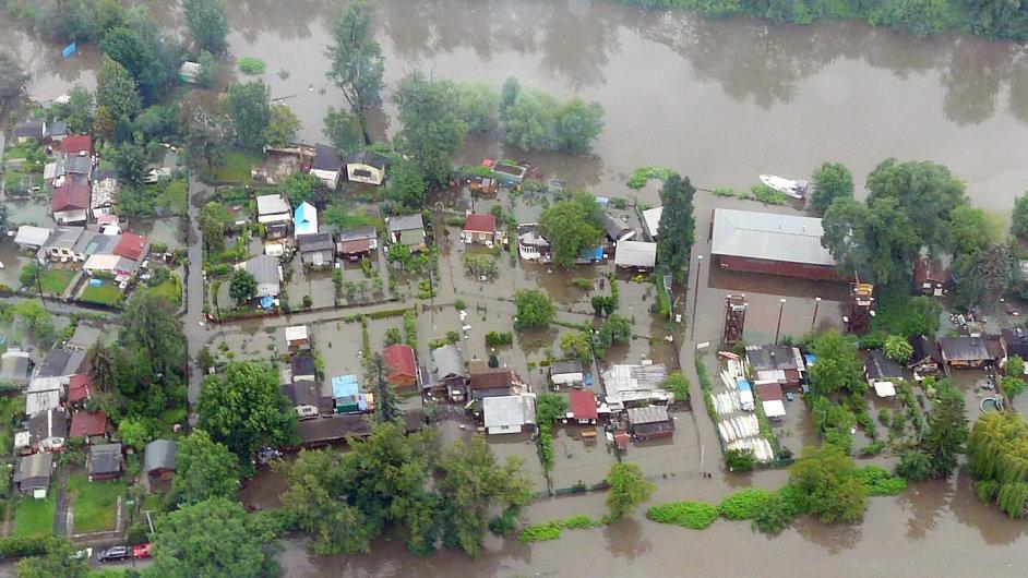 Záplavy v Česku - letecký snímek