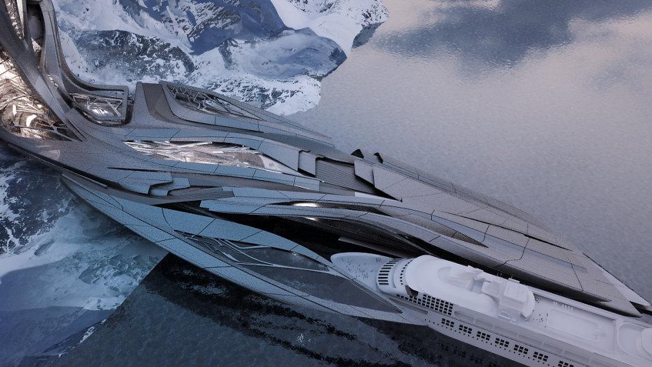 Projekt arktického přístavu pro turismus a výzkum vznikl pod vedením Zahy Hadid.