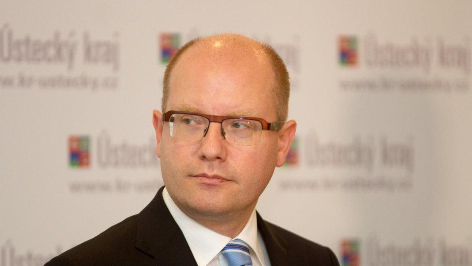 Výjezdní zasedání vlády. Premiér Bohuslav Sobotka na tiskové konferenci.
